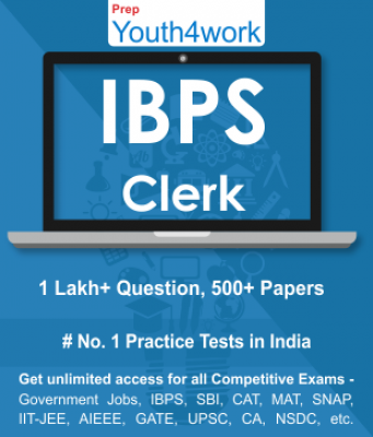 IBPS Clerk Best Online Practice Tests Prep - Unlimited Access - 500+ Topic Wise Tests For All  Compe